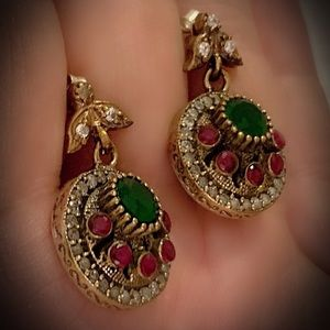 EMERALD RED RUBY EARRINGS Solid 925 Silver/Gold